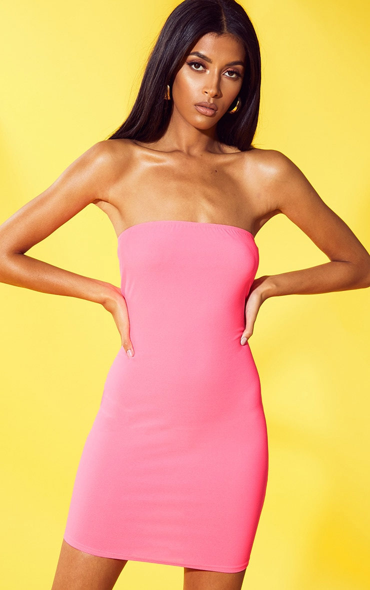 Neon Pink Crepe Bandeau Bodycon Dress 1