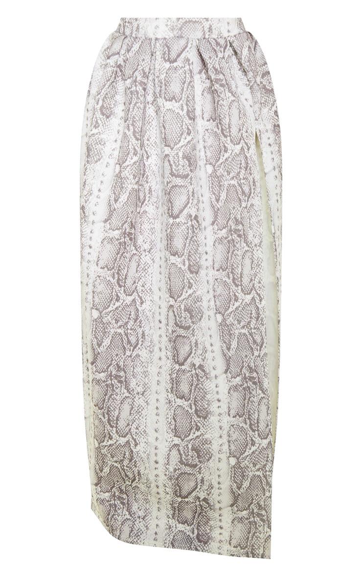 Grey Snake Print Scuba Maxi Skirt 3
