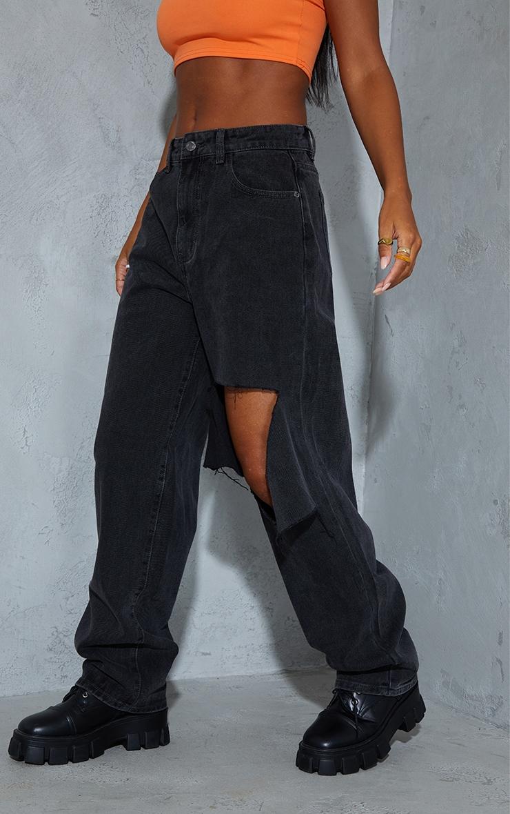 Washed Black Extreme Knee Rip Boyfriend Jeans 2