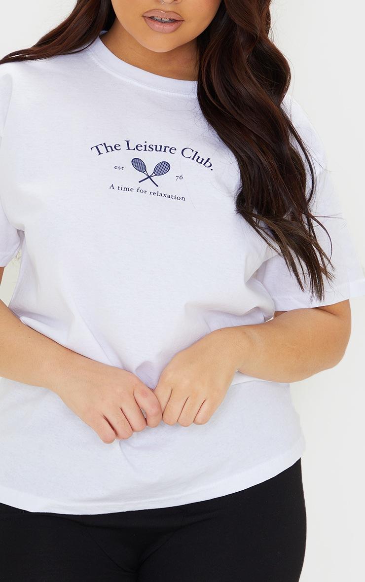Plus White Leisure Club T Shirt 4