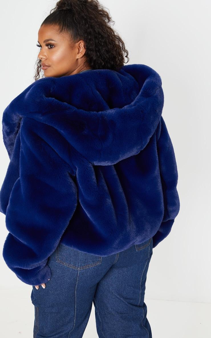 Plus Blue Cropped Faux Fur Hooded Coat 2