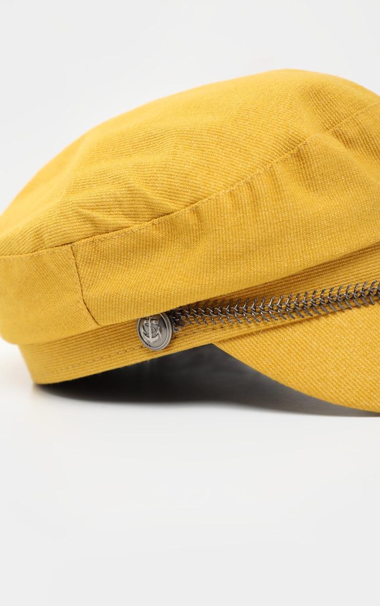 Mustard Baker Boy Hat With Gun Metal Grey Trim 4