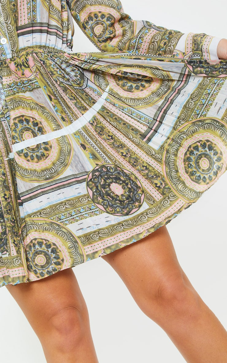 Multi Chain Print Pleated Shirt Dress 4