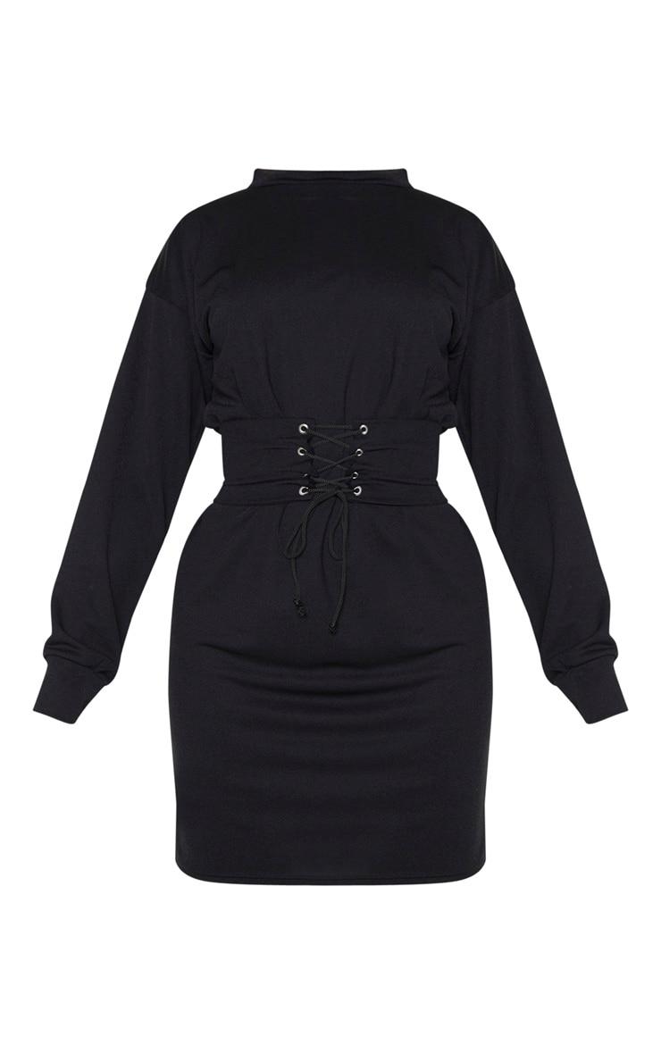 Tall Black Corset Detail Crepe Oversized Jumper Dress 3