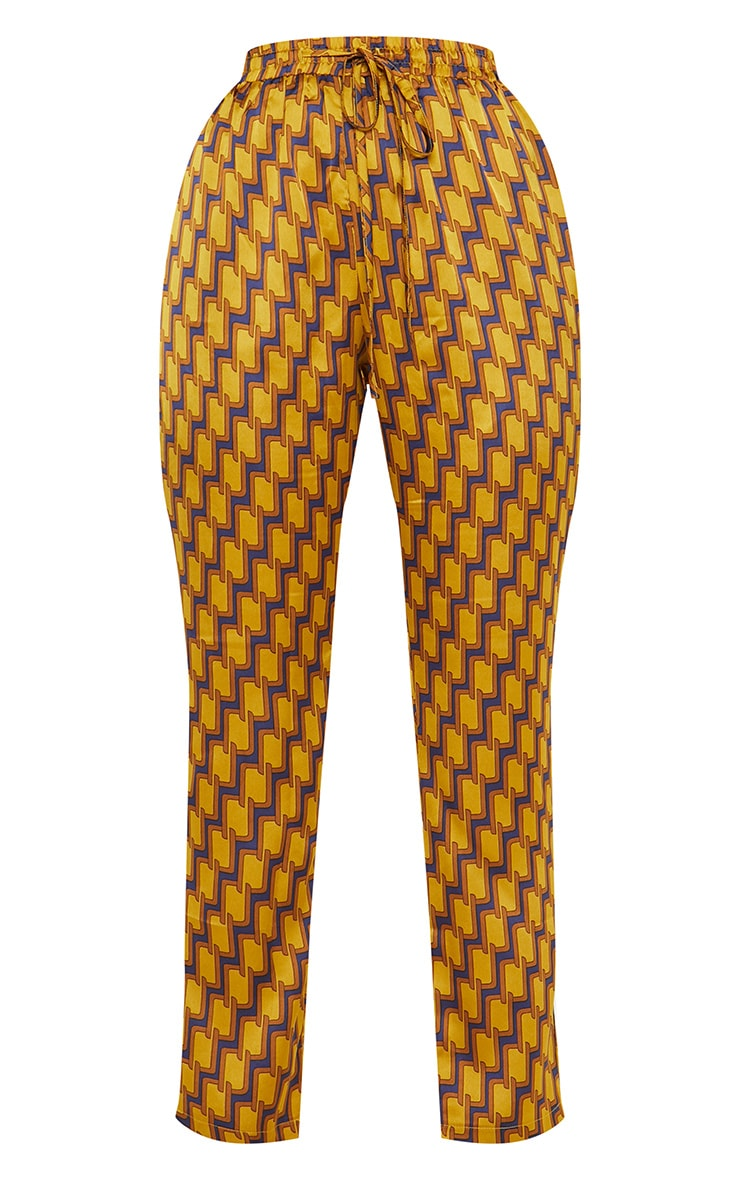 Mustard Satin Printed Straight Leg Trouser 3
