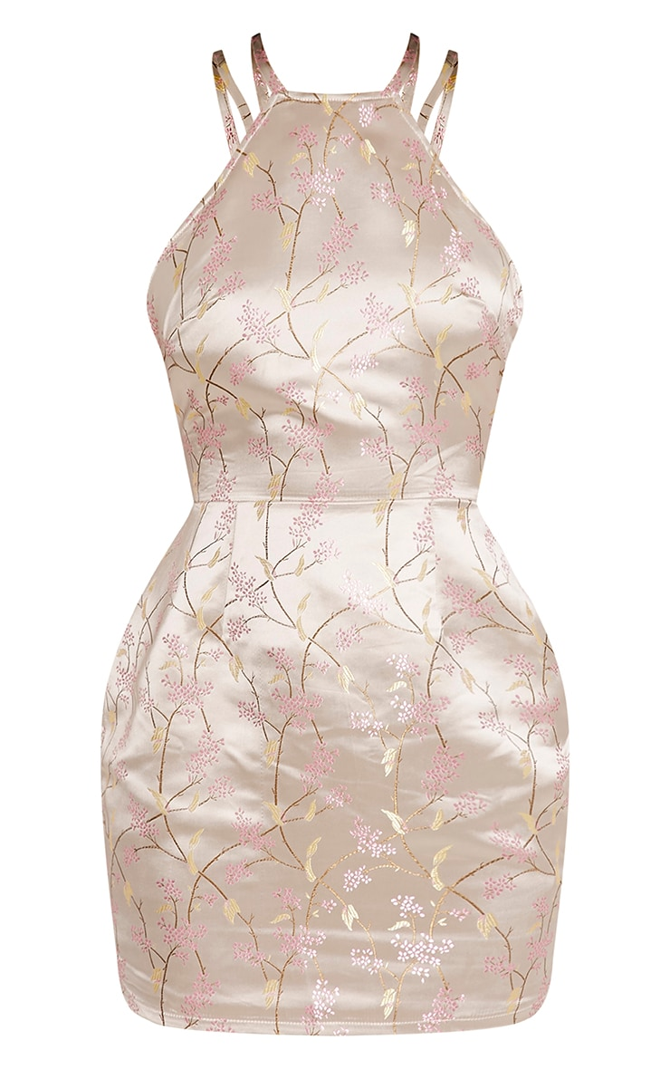 Lamara Champagne Embroidered Satin Cross Back Dress 3