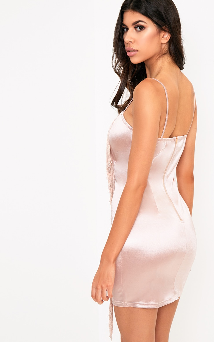 Nude Fringe Detail Bodycon Dress 2