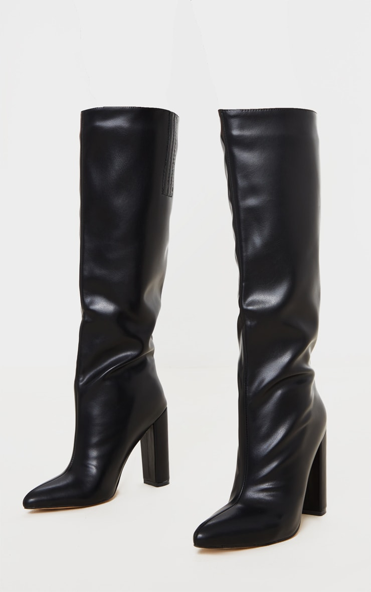 Black Wide Fit Knee High Point Block Heel Boot 3