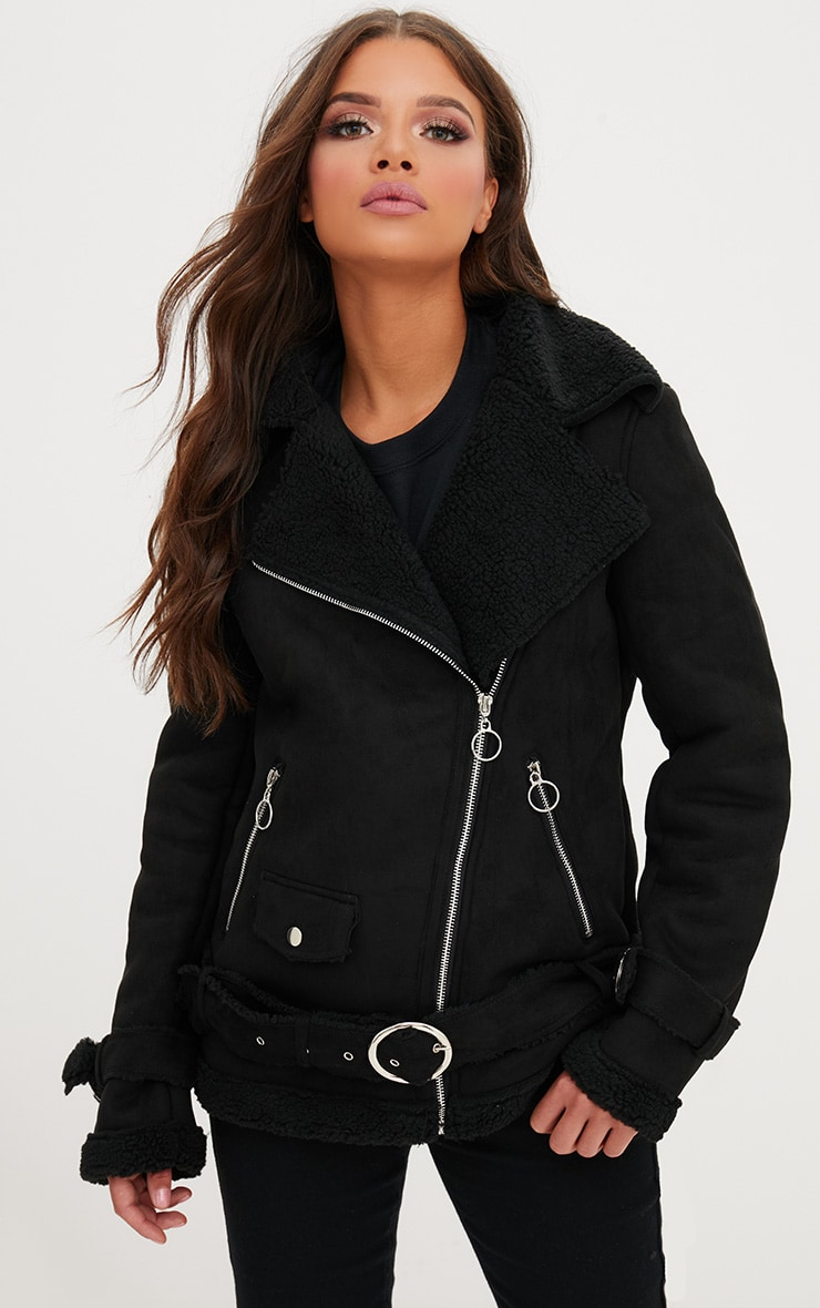 Black Ring Pull Faux Suede Aviator Coat 1