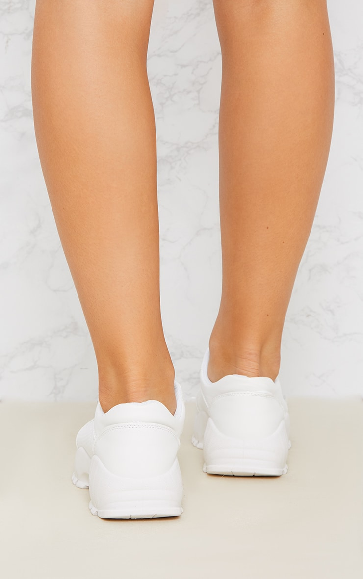 White Chunky Lace Up Sneakers 3