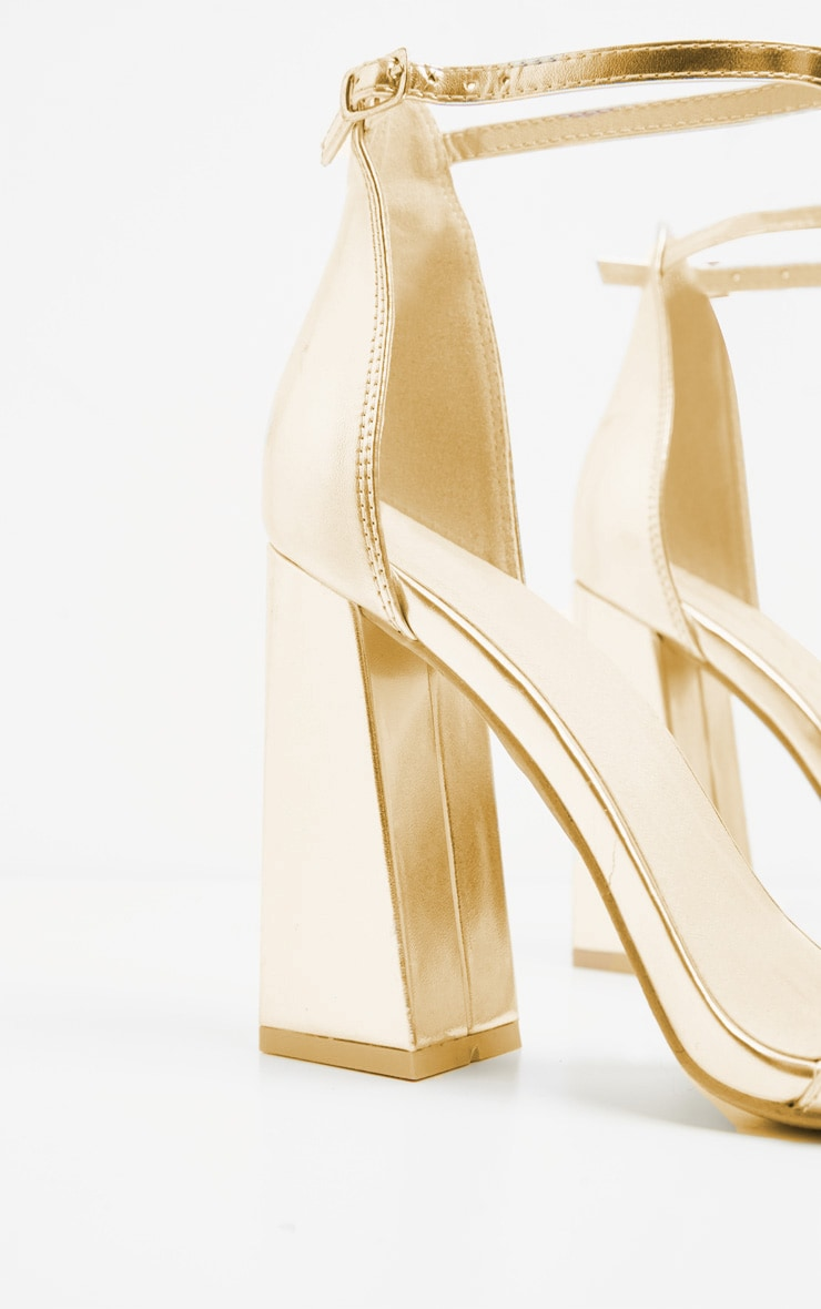 Gold High Block Heel Strappy Sandal 3