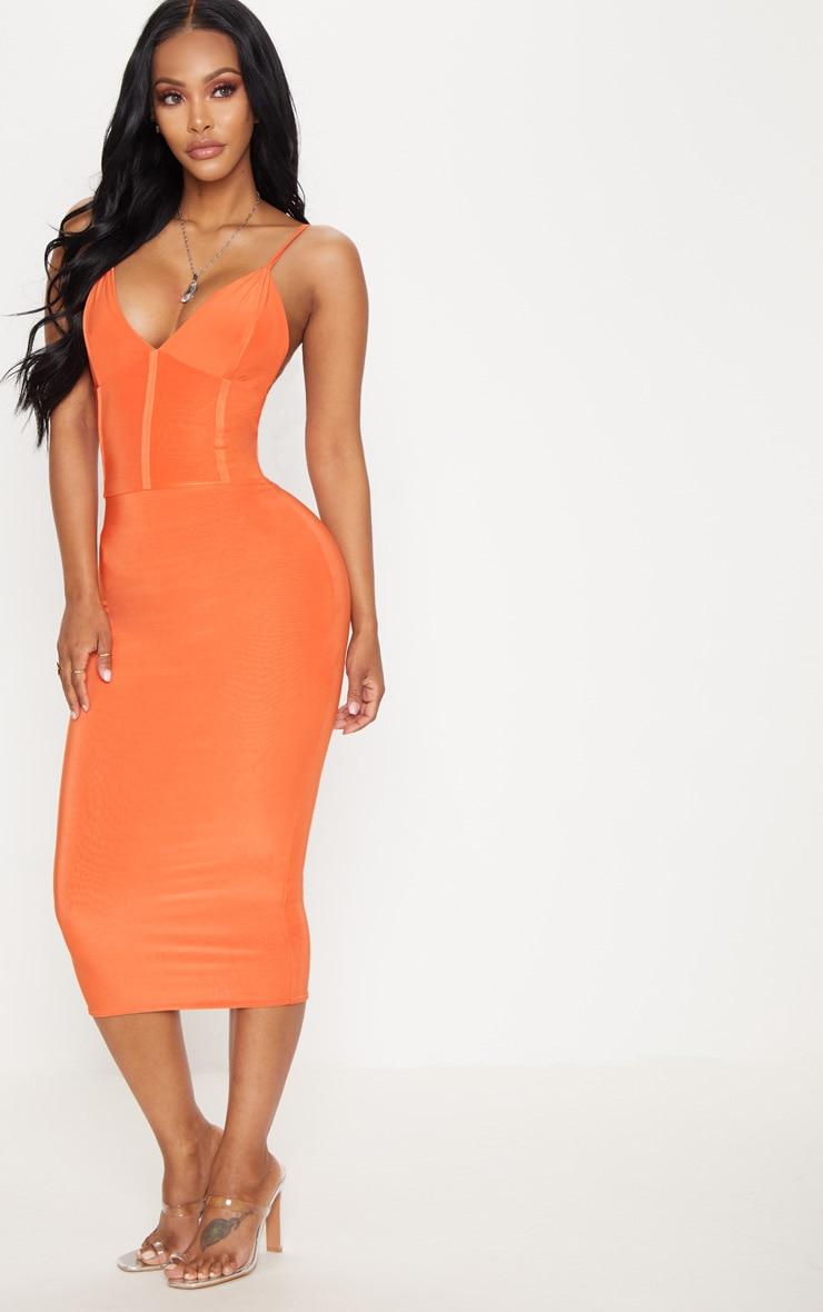 Shape Orange Slinky Panelled Midi Dress 4