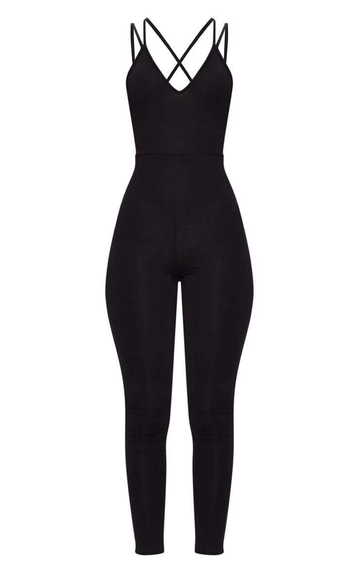 Combinaison noire en jersey à bretelles croisées au dos 3