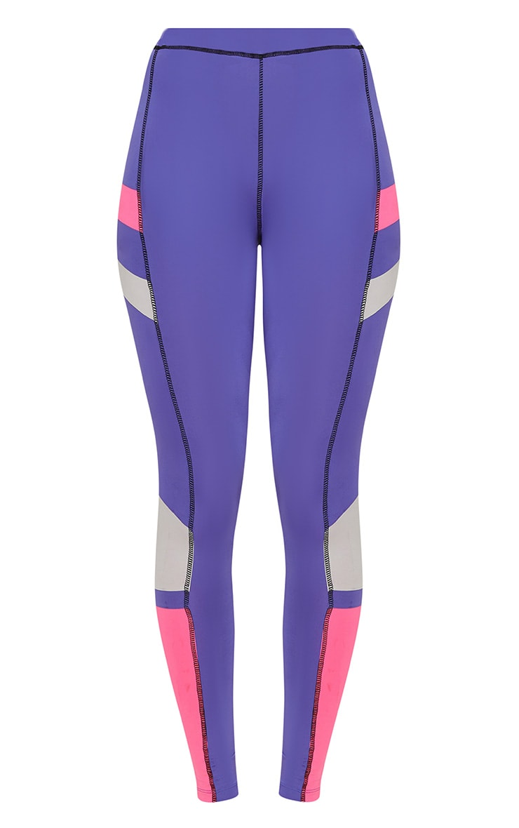 Purple Colour Block Panel Sports Leggings 4