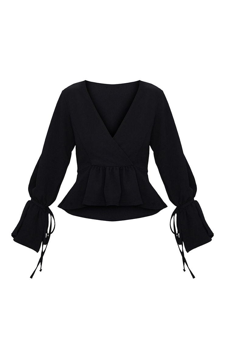 Black Chiffon Deep Plunge Blouse  3