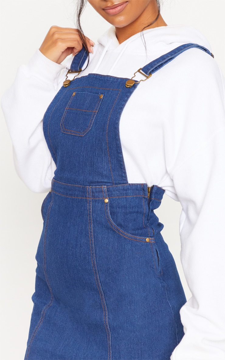 Martine Indigo Blue Denim Pinafore Dress 5