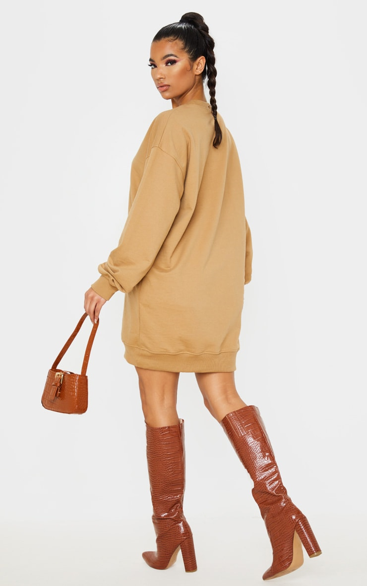 PRETTYLITTLETHING Camel Exclusive Slogan Sweater Dress 2