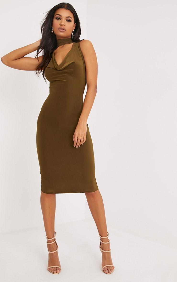 Nayasha Khaki Slinky Choker Wrap Midi Dress 4