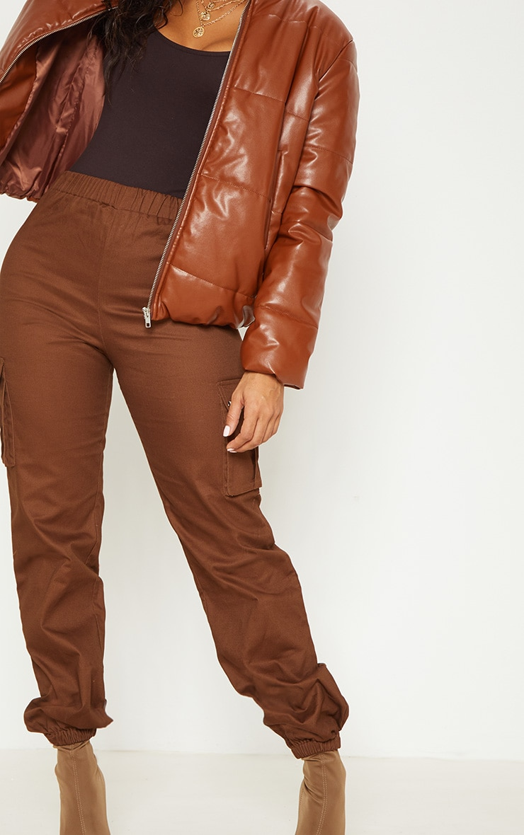 Chocolate Pocket Detail Cargo Trousers 5