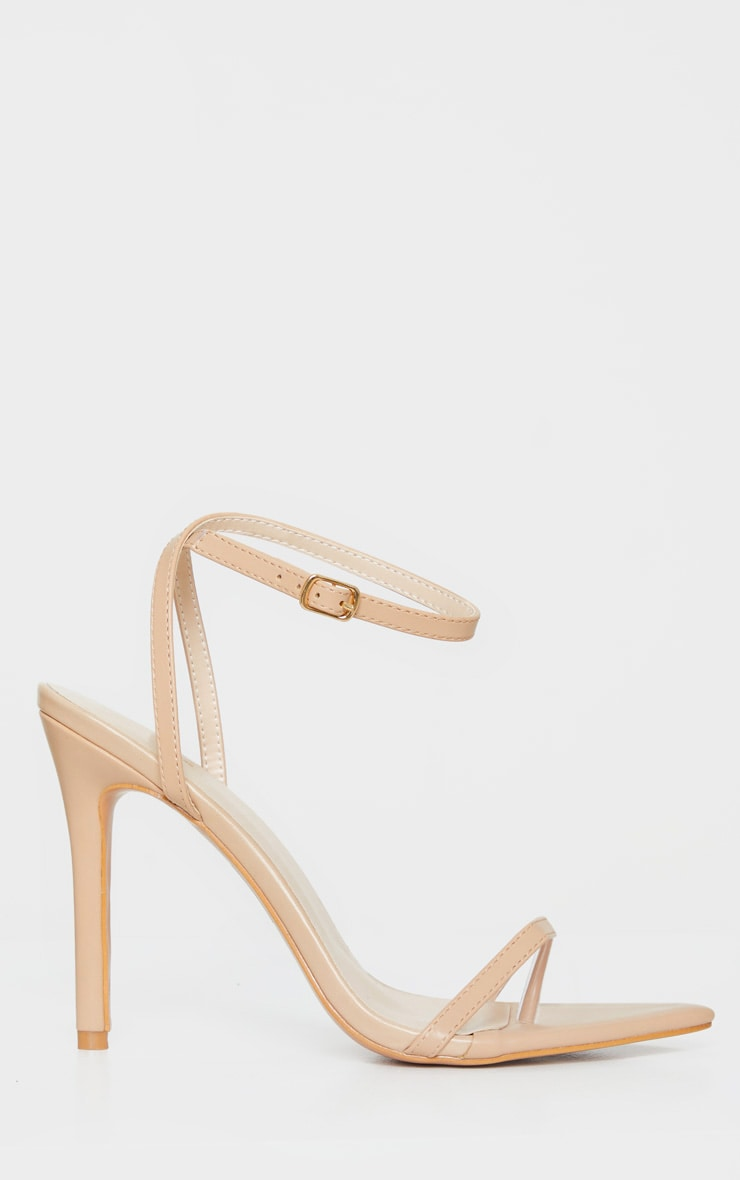 Nude Toe Thong Ankle Strap Point Toe Heeled Sandal 4