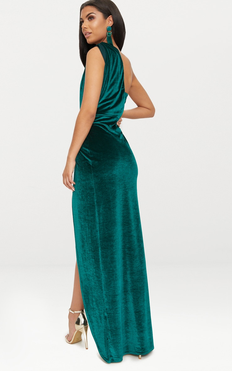 Emerald Green Velvet Wrap One Shoulder Extreme Split Maxi Dress  2