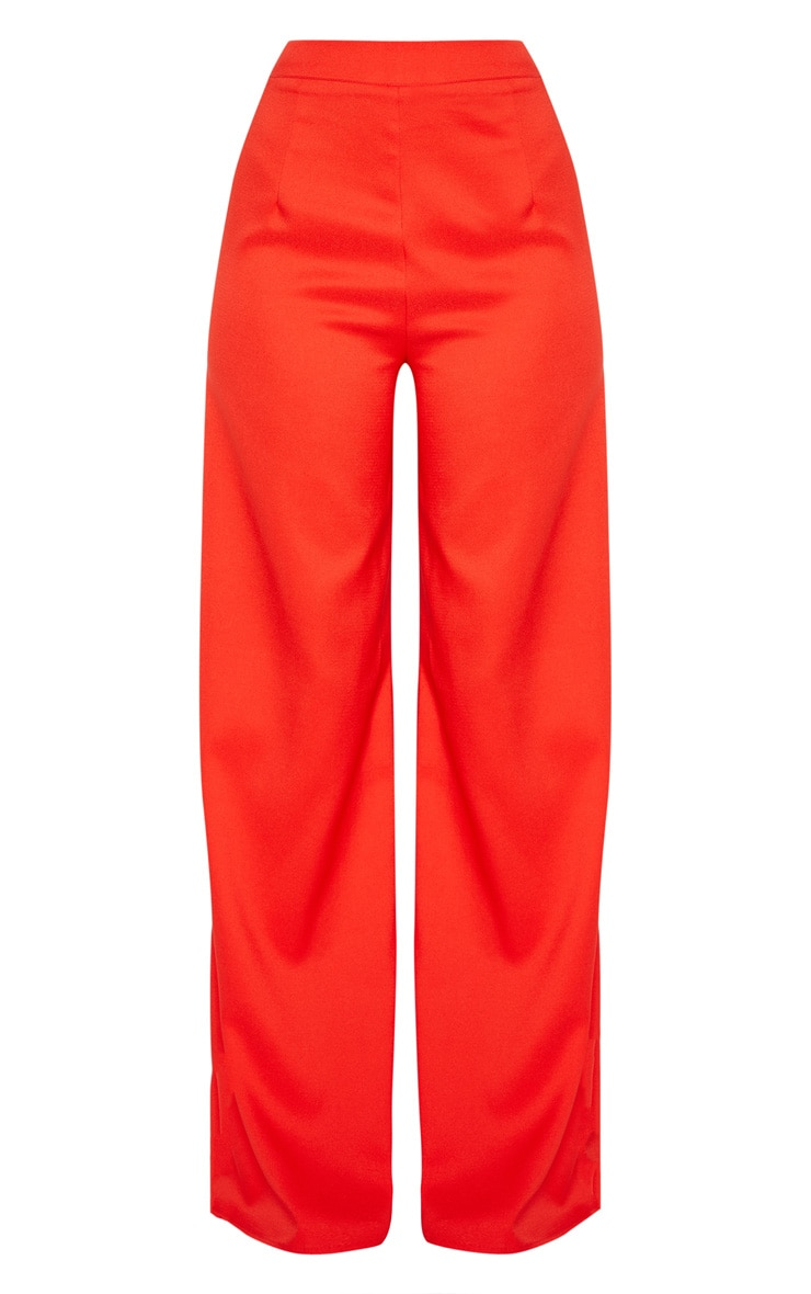 Red Woven Wide Leg Trouser 3