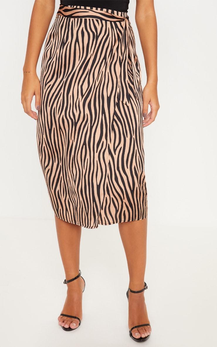 Champagne Zebra Print Satin Wrap Midi Skirt 2
