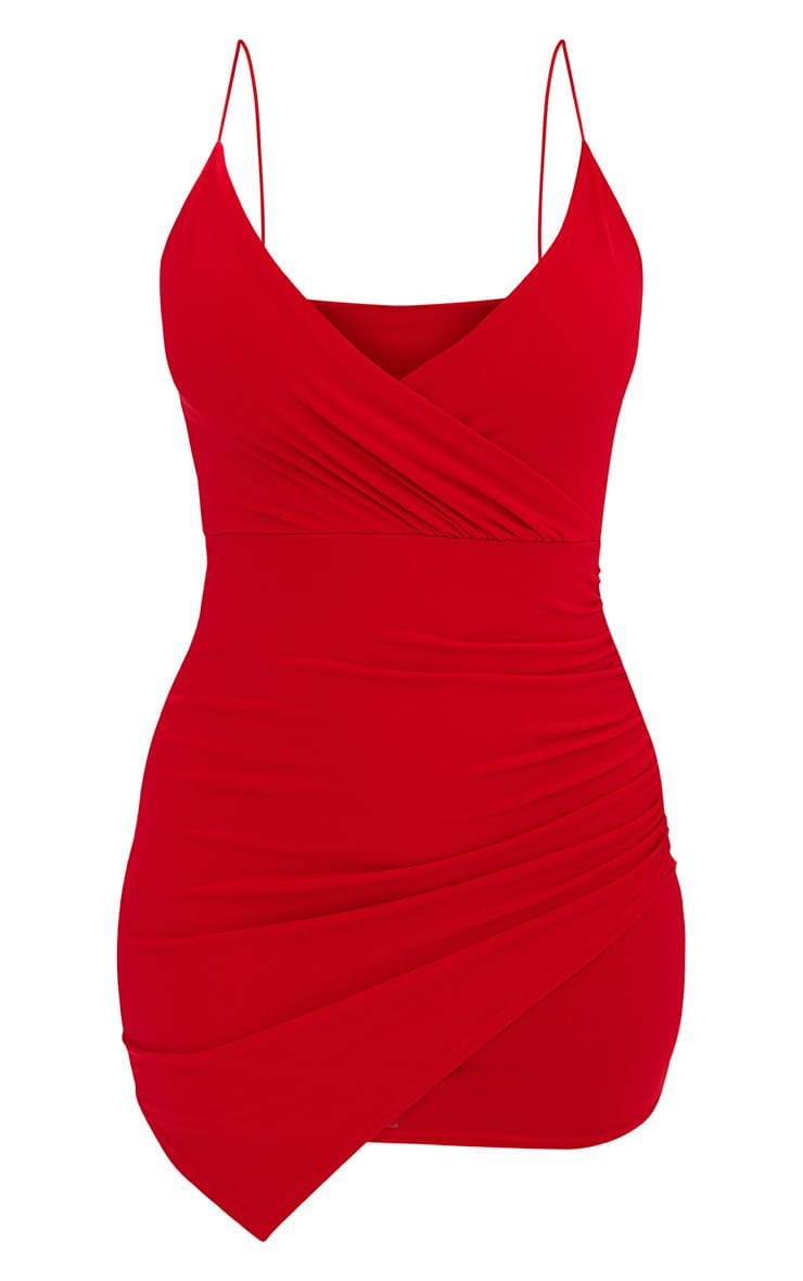 Red Slinky Wrap Strappy Bodycon Dress 3