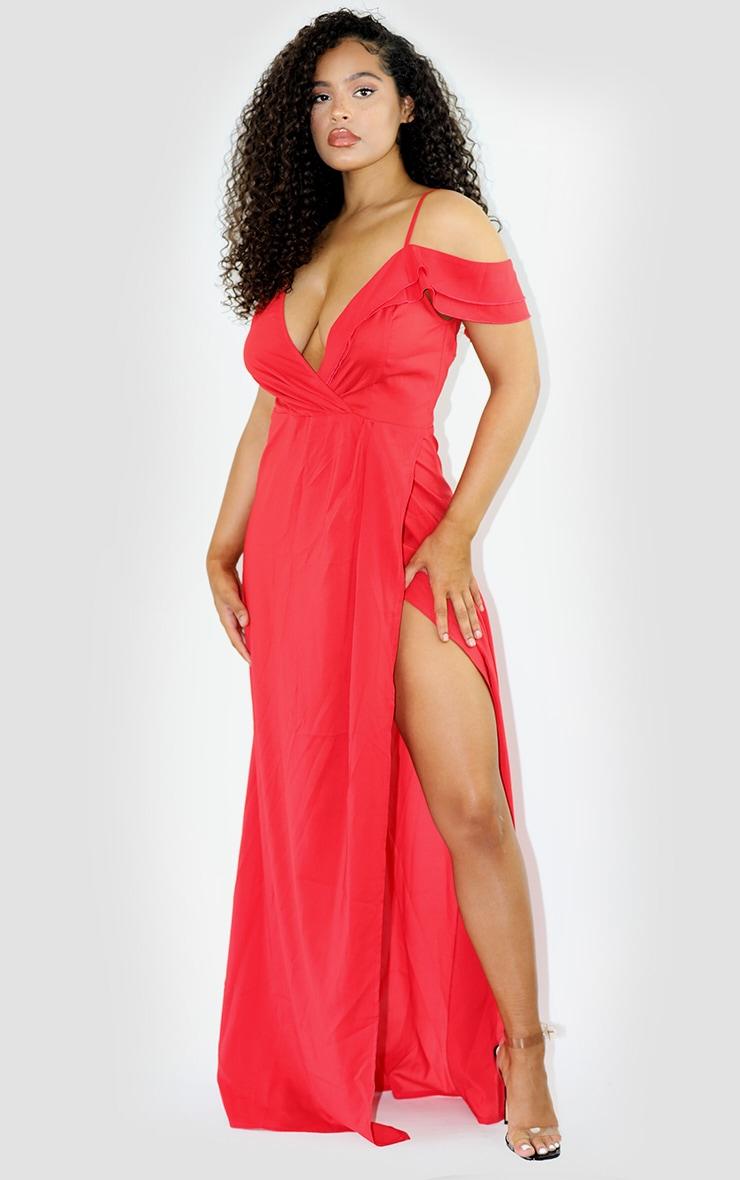 Red Asymmetric Shoulder Wrap Maxi Dress 1