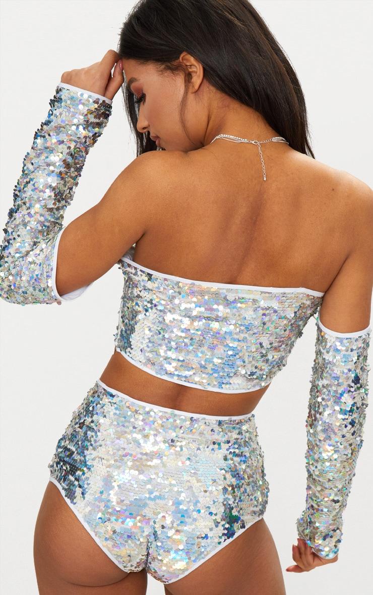 Silver Sequin Bardot Crop Top 2