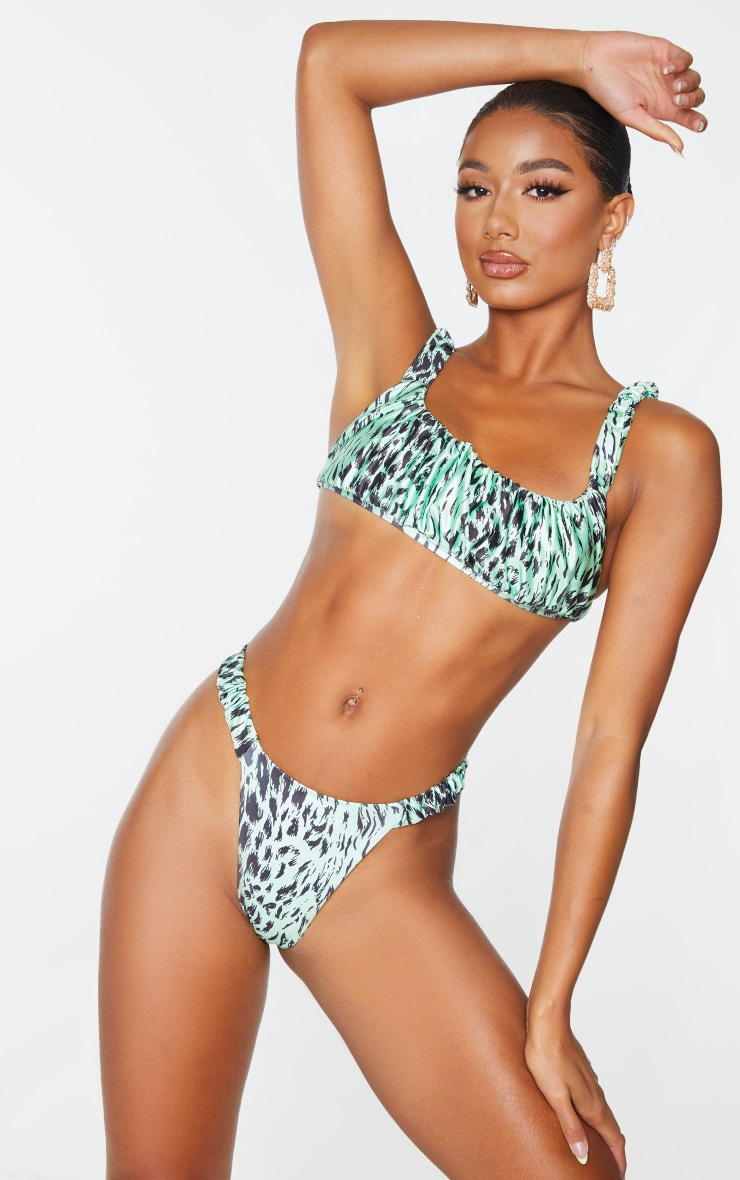 Green Animal Print Ruched Strap Bikini Top 1