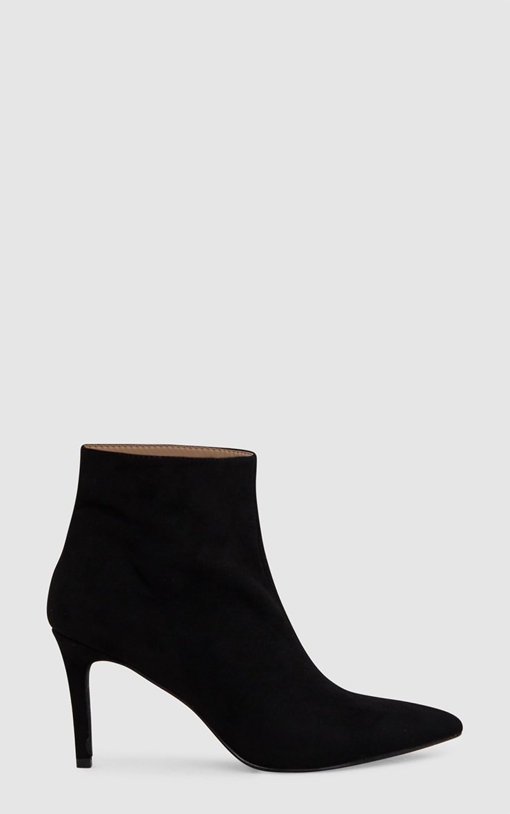 Black Mid Heel Pointed Ankle Boots 3