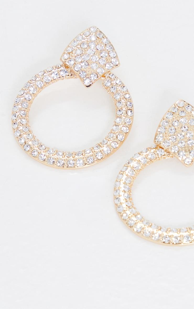 Gold Oversized Silver Diamante Door Knocker Earrings 3