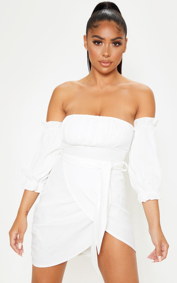 Petite White Bardot Tie Front Wrap Mini Dress  1