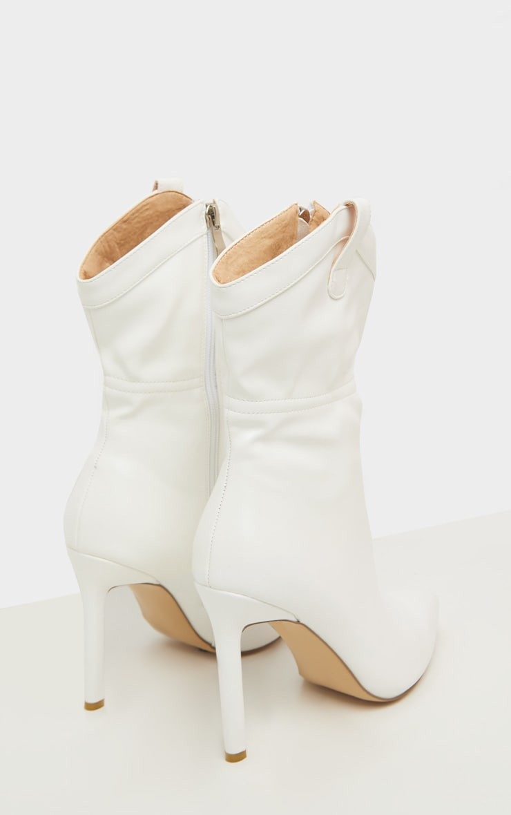 White Western Detail Point Ankle Boot 3