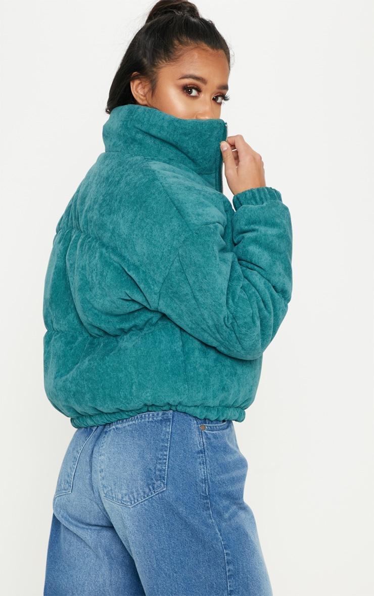 Petite Emerald Green Cord Puffer Jacket 2