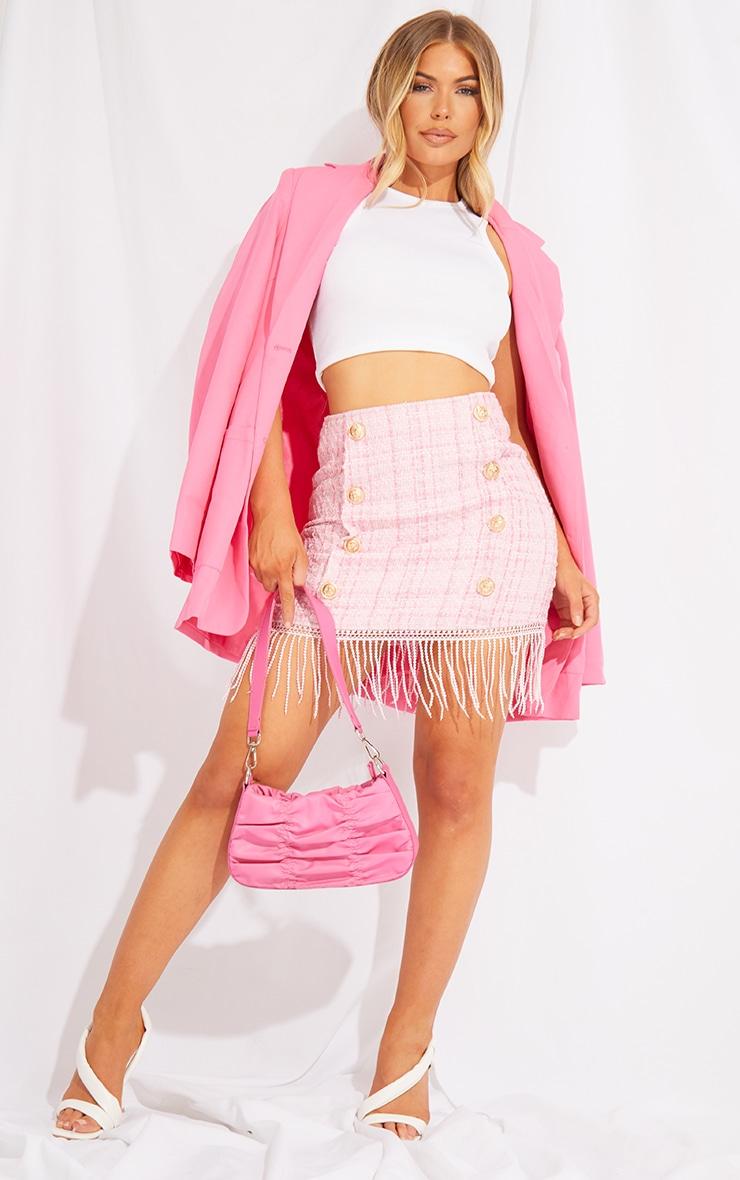 Pink Tweed Button Detail Mini Skirt 1