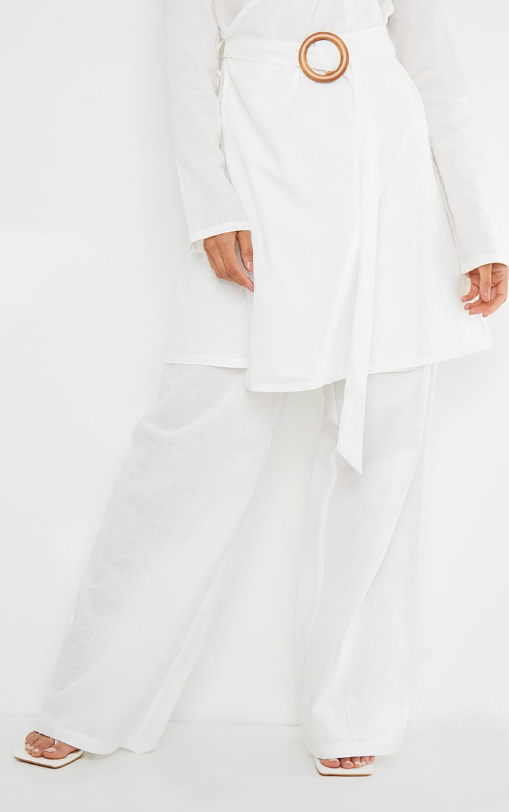 White Woven Wide Leg Pants 2