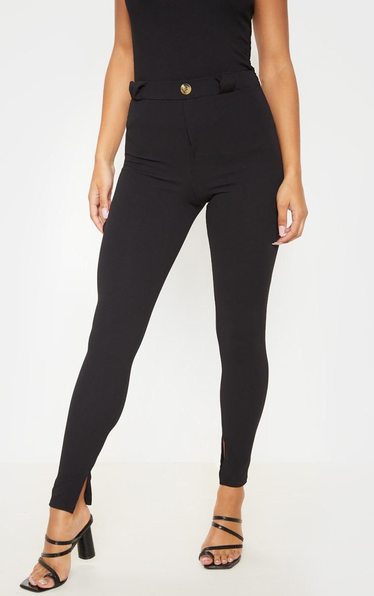 Black Crepe Split Hem Skinny Trouser 2
