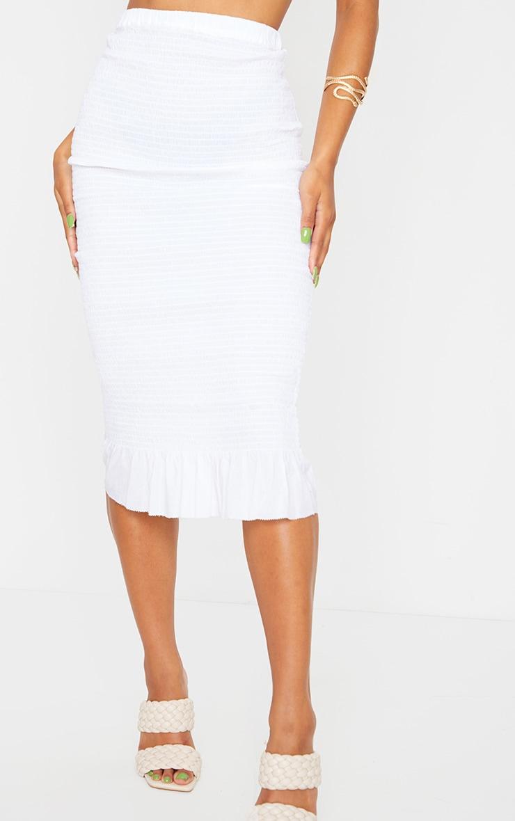 White Shirred Frill Hem Midi Skirt 2