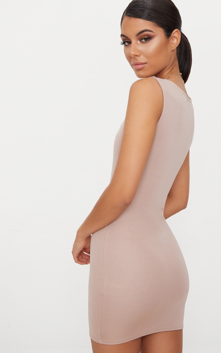 Taupe Square Neck Panelled Bodycon Dress 2