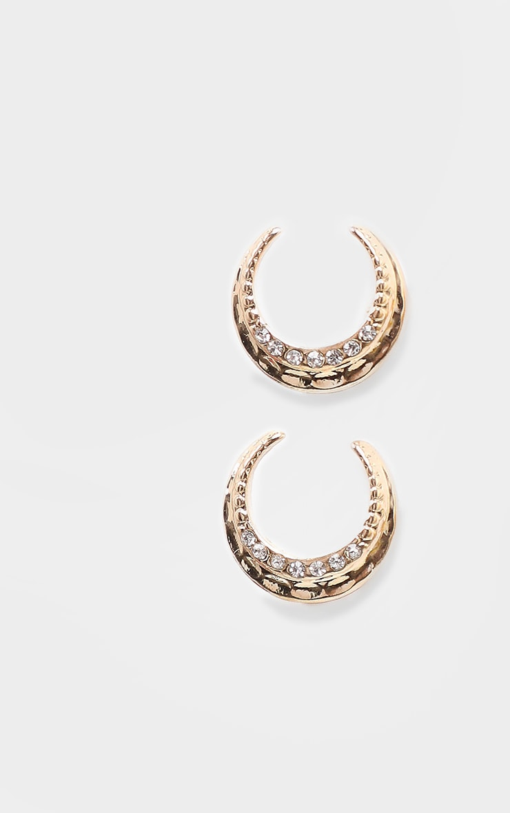 Gold Mini Diamante Moon Shape Earrings 3