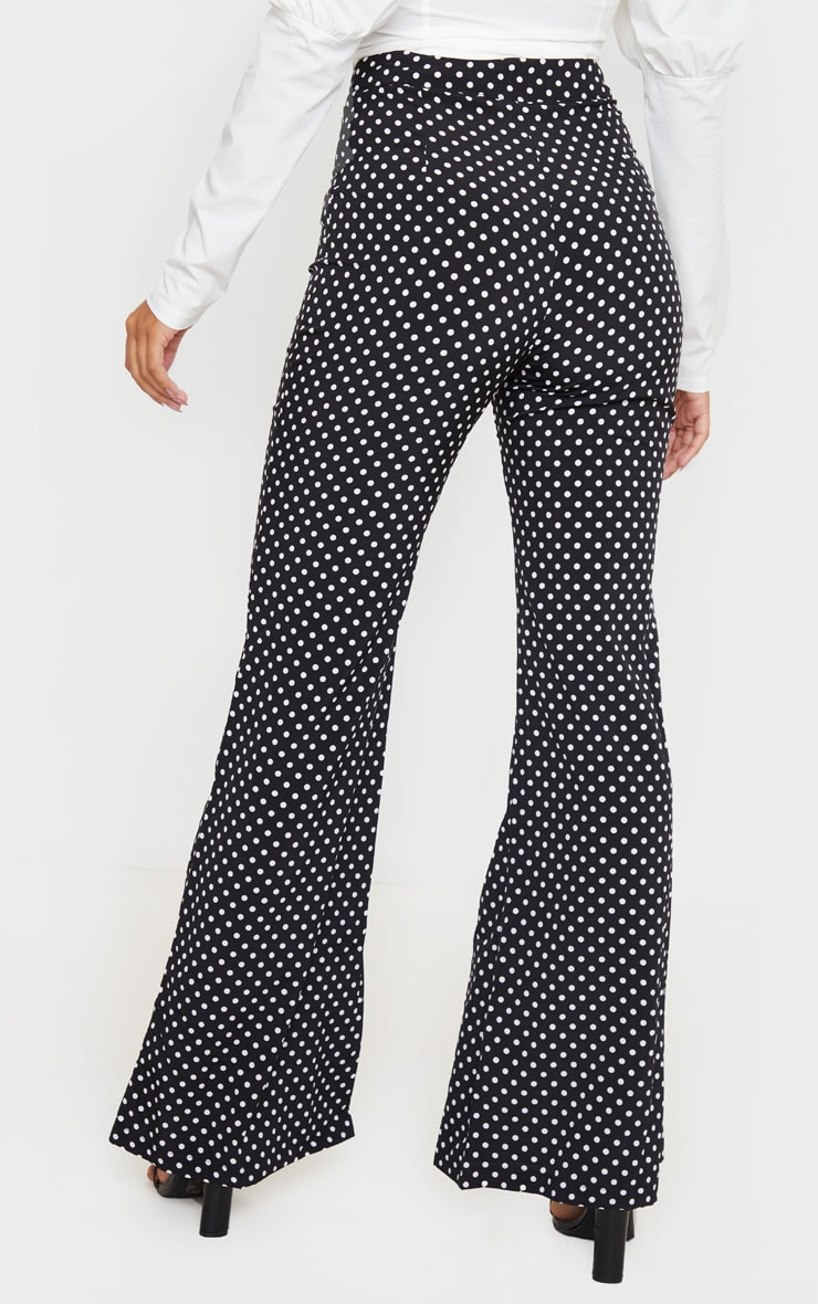Black Polka Dot Print Wide Leg Pants 4