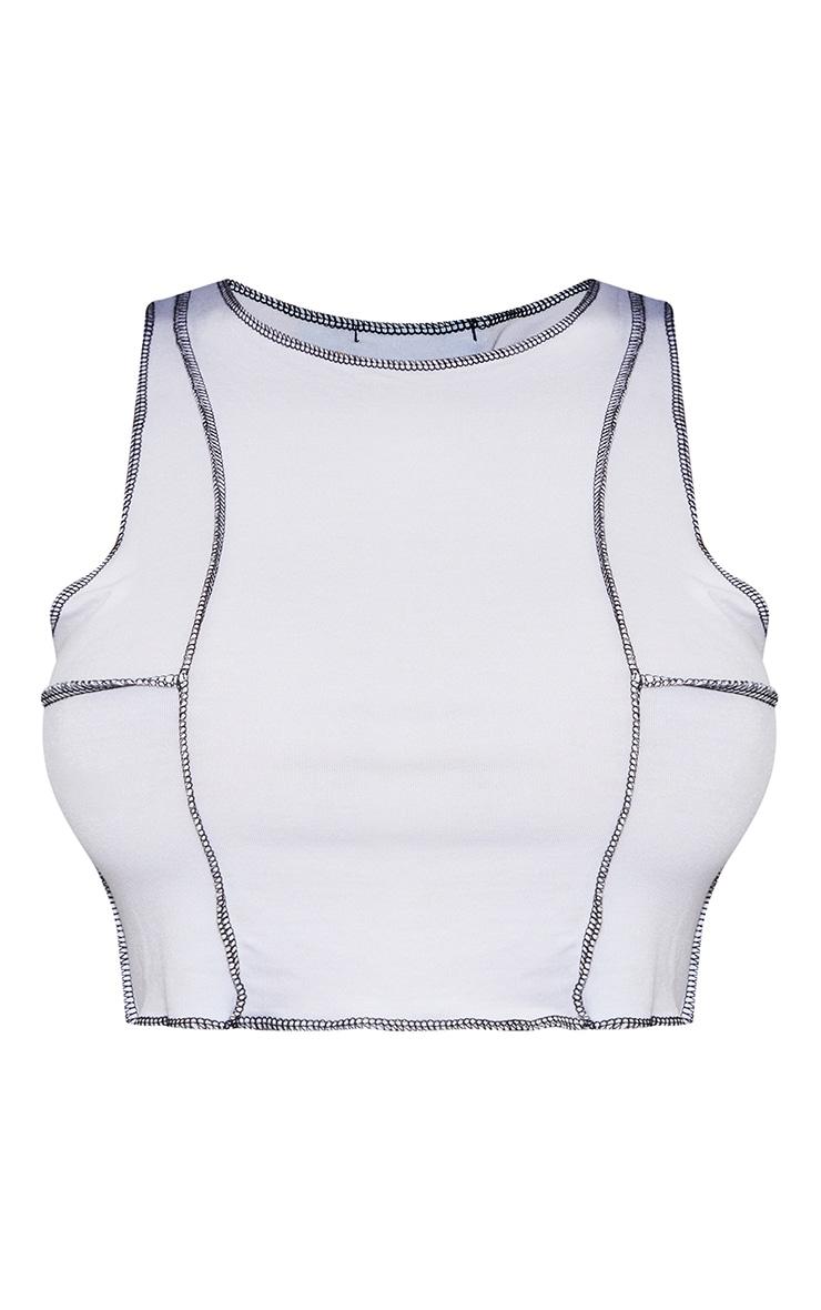 Crop top blanc en jersey à coutures contrastantes 5