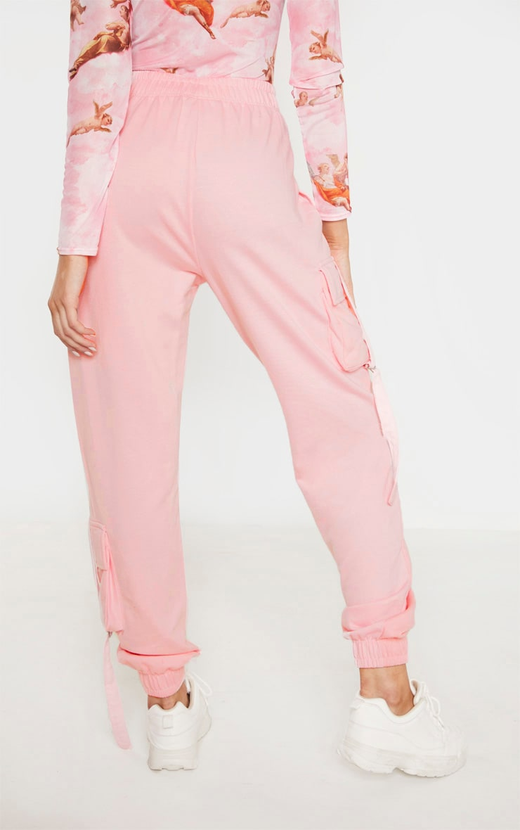 Tall Baby Pink Cargo Detail Casual Jogger 4
