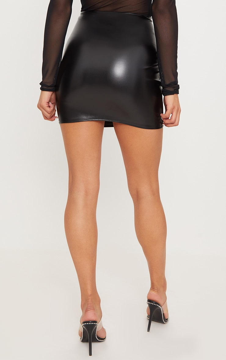 Black Lace Up Front Faux Leather Mini Skirt  4