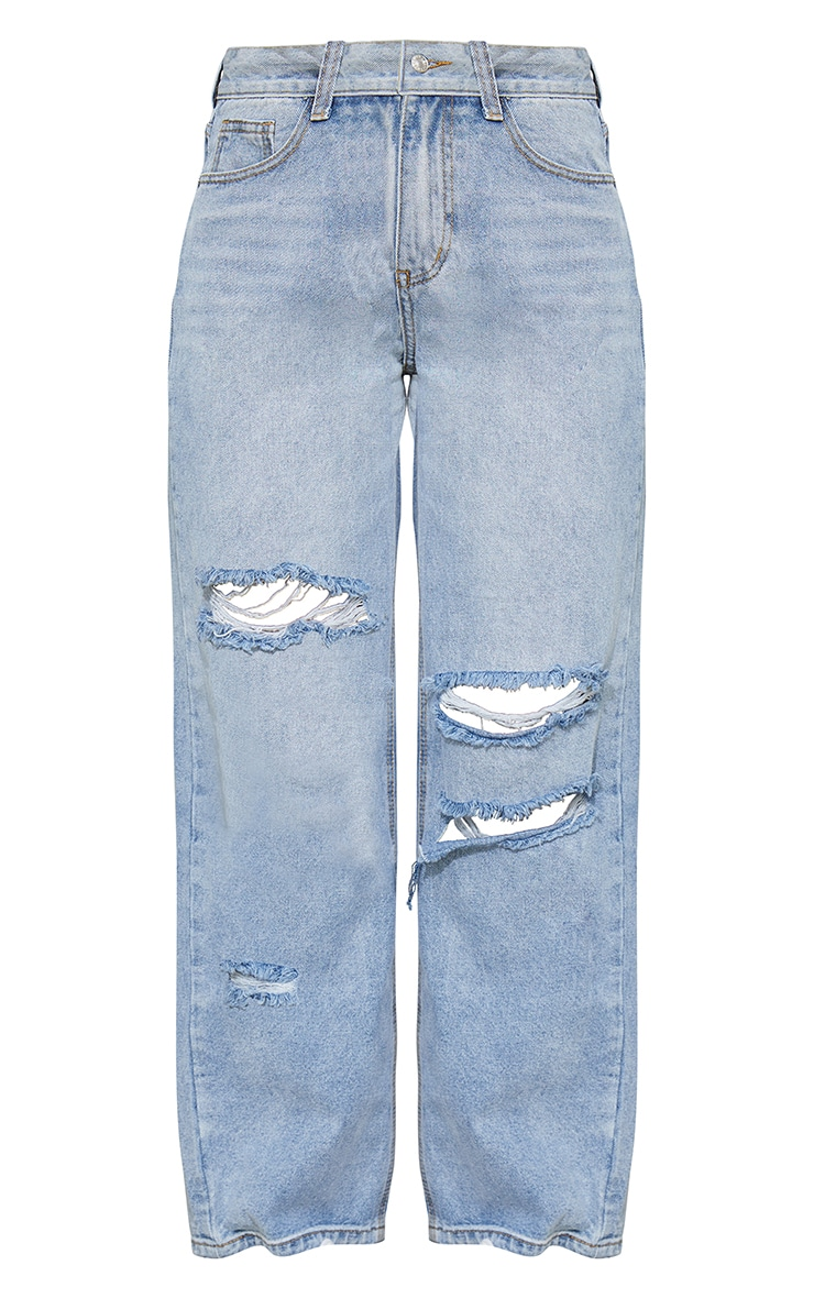 Bleach Wash Baggy Low Rise Distressed Boyfriend Jean 5