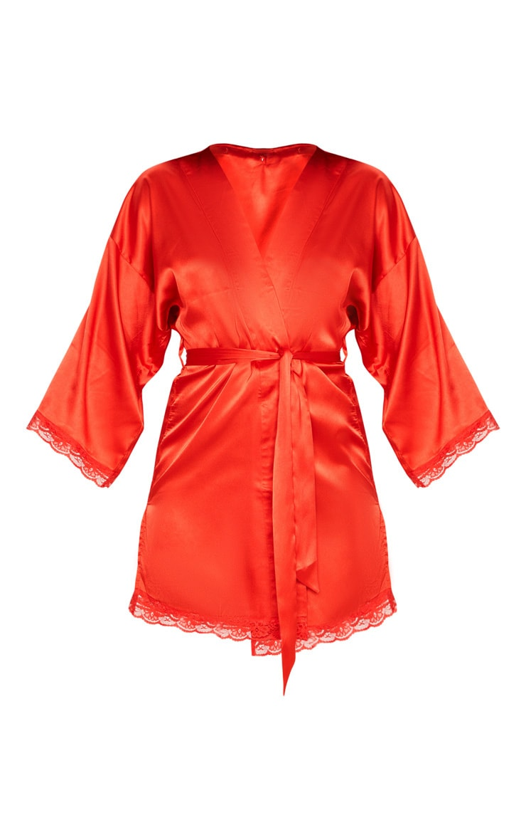 Red Lace Trim Satin Robe 3