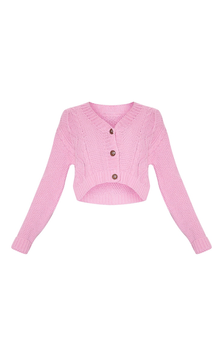 Pink Cable Cropped Cardigan 3