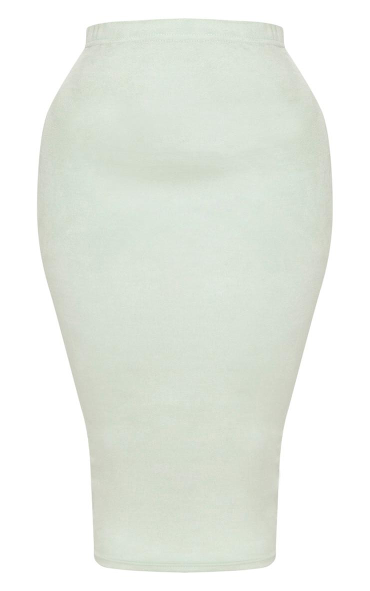 Shape Sage Green Faux Suede Midi Skirt 3